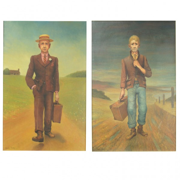 Pair of Companion Oil Paintings by Leslie Emery