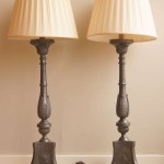 Pair of Large Pewter Altarstick Lamps