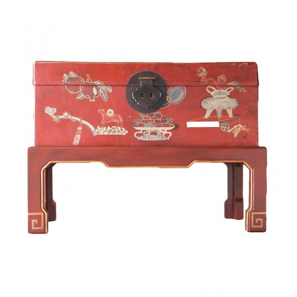 Chinese Leather Trunk on Stand