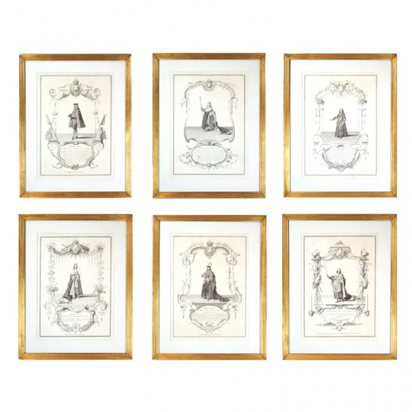 Set of Six Framed Early Engravings of French Monarchs