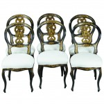 Set of Six English Black Lacquer Dining Chairs