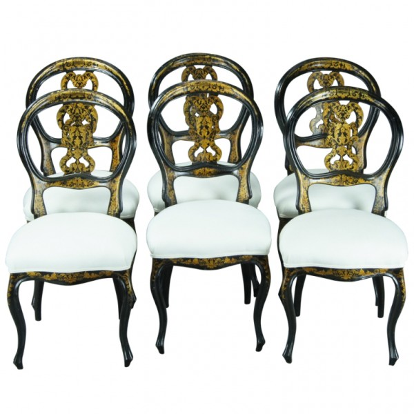 Black Lacquer Dining Room Chairs: Set Of Six English Black Lacquer Dining Chairs