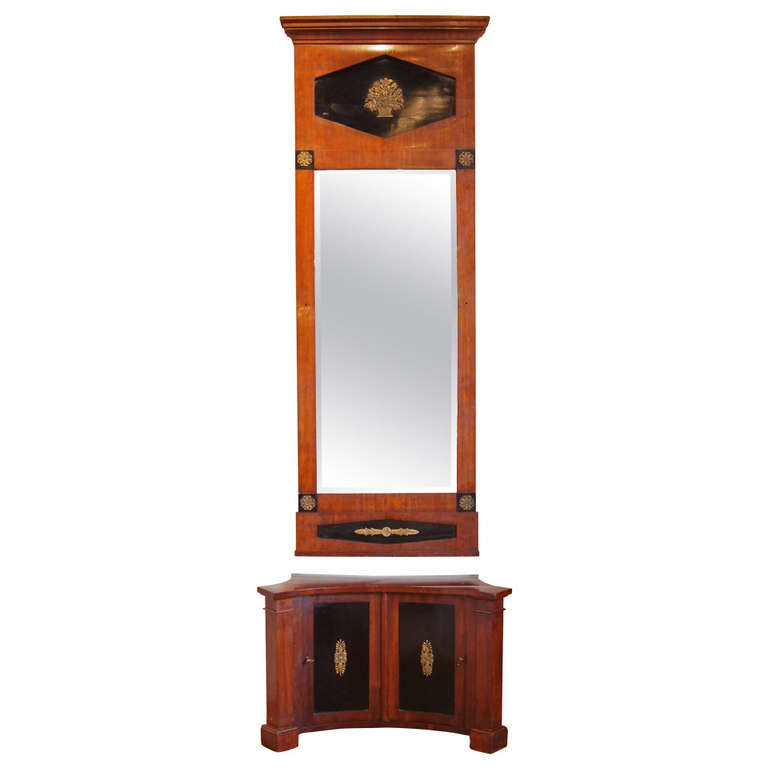 Hall Cabinet with Matching Pier Mirror