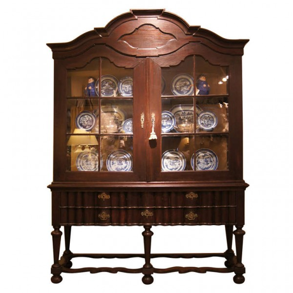 William & Mary Revival Vitrine Cabinet