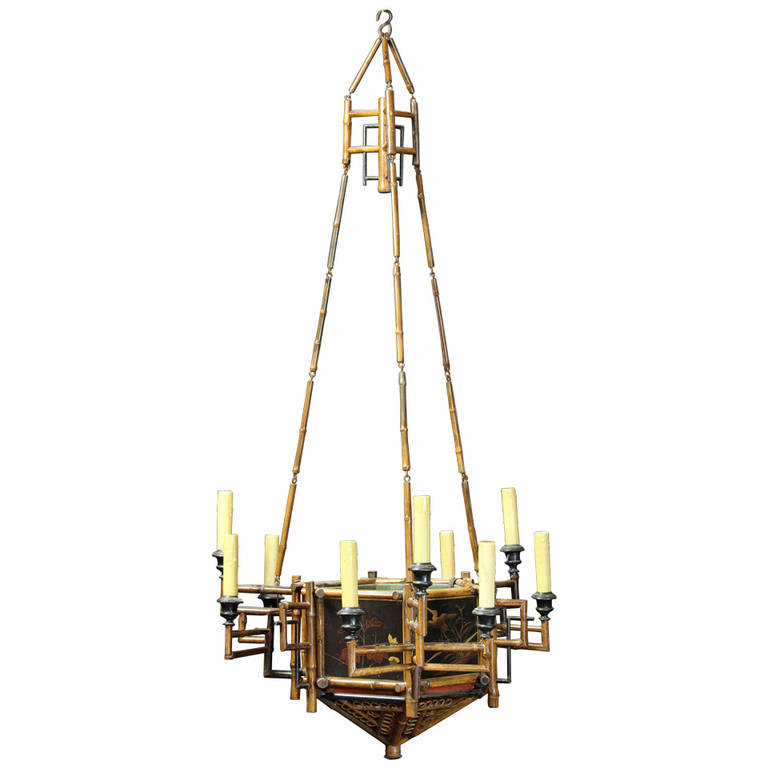 English chinoiserie bamboo and lacquer chandelier comer co english chinoiserie bamboo and lacquer chandelier aloadofball Choice Image