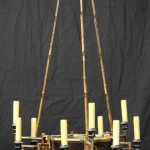 English Chinoiserie Bamboo and Lacquer Chandelier