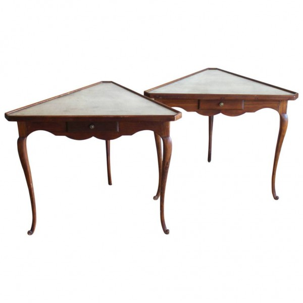 Pair of Mirror Topped Triangular Tables