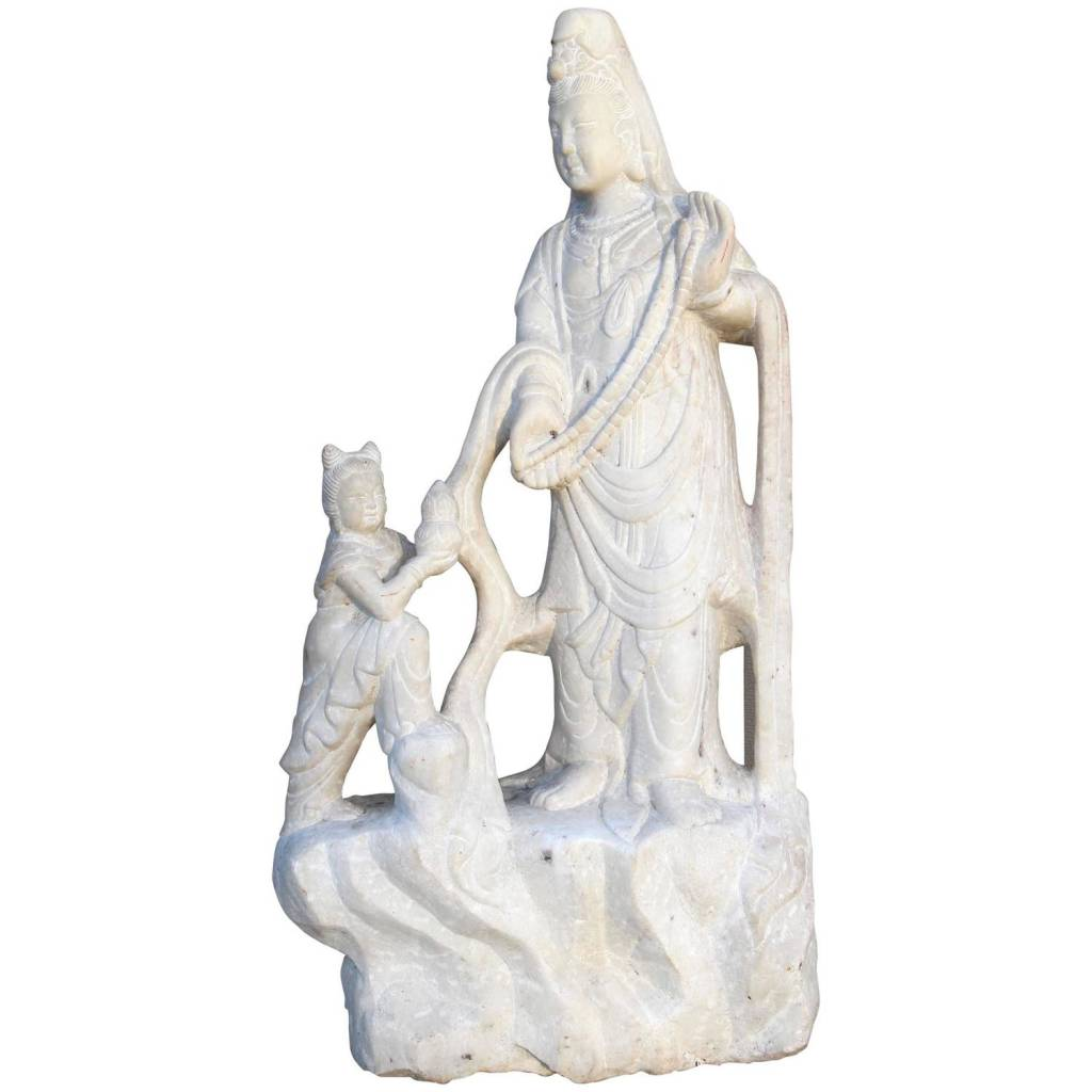 Large Carved Quartz Quan Yin with Attendant