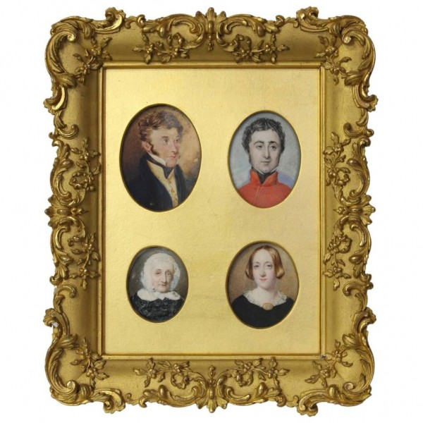Grouping of Four Portrait Miniatures