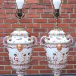 Large Pair of Italian Capo Di Monte Table Lamps