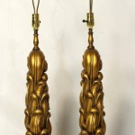Sculptural Gilt Wood Table Lamps by James Mont