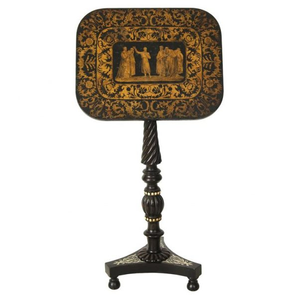 Regency Penwork Pedestal Base Table