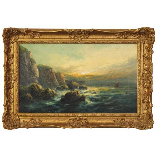 English Oil on Canvas Seascape Painting