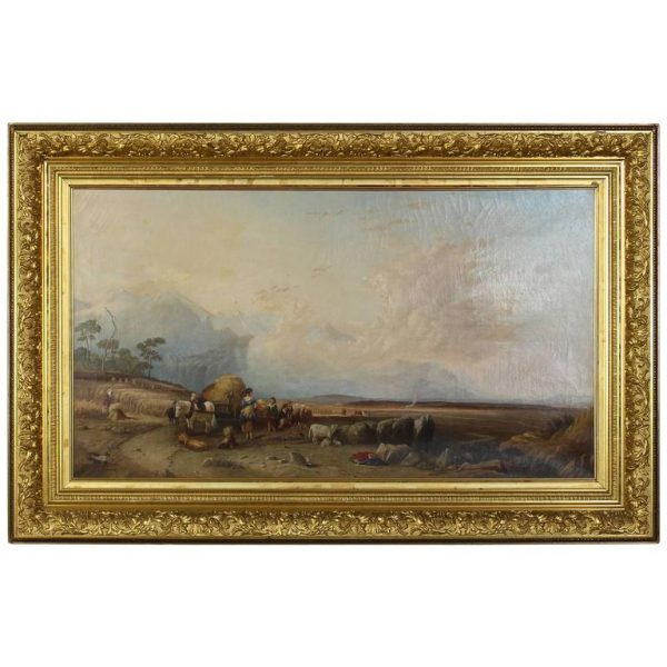 19th Century English Oil on Canvas Landscape Painting
