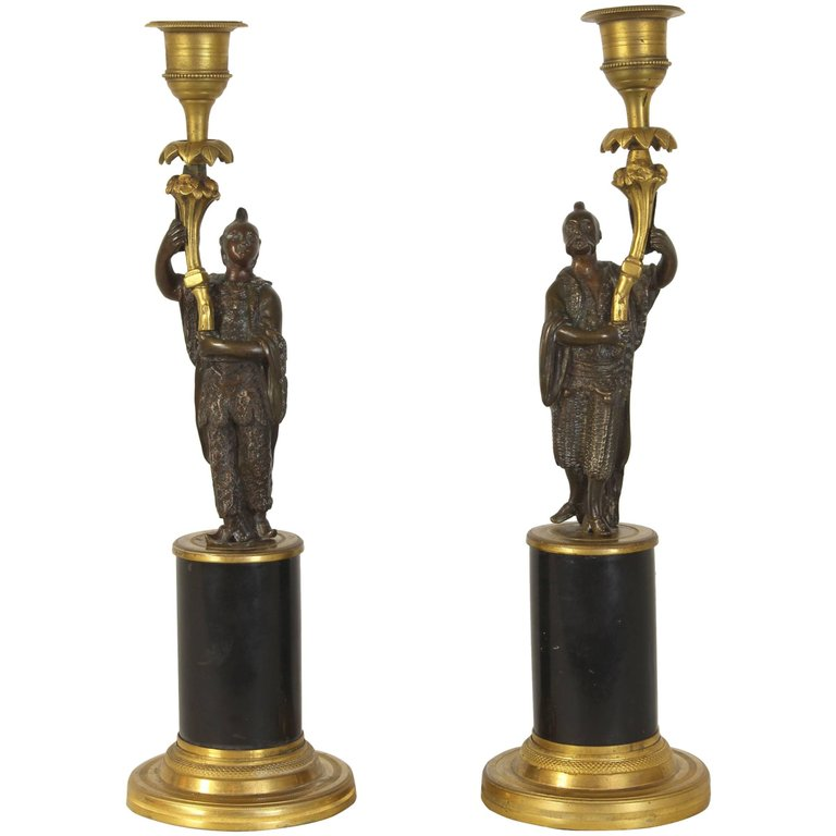 Pair of Early 19th Century Chinoiserie Figural Candlesticks