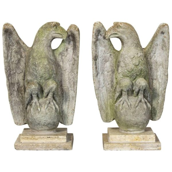 Pair of Vintage Cast Stone Eagles