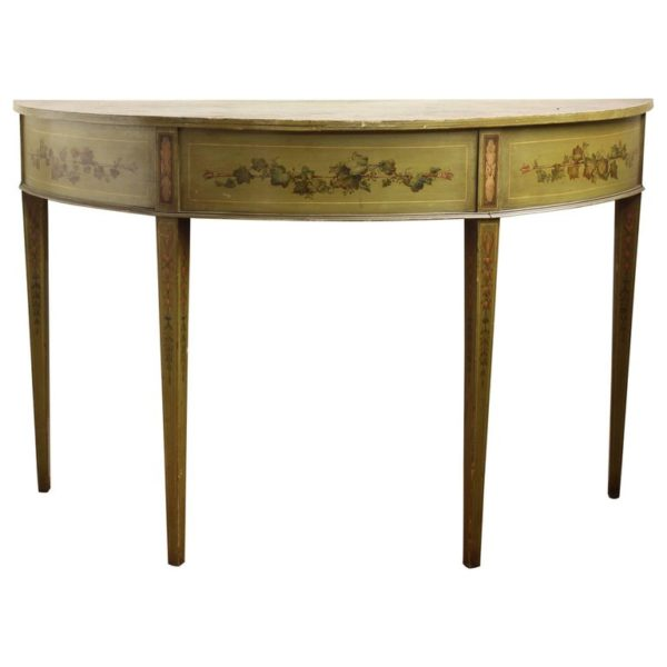 19th Century English Adam Style Paint Decorated Demilune Console Table