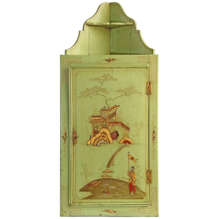 19th Century English Chinoiserie Decorated Hanging Corner Cupboard