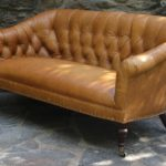 Edwardian Style Buttoned Back Leather Sofa