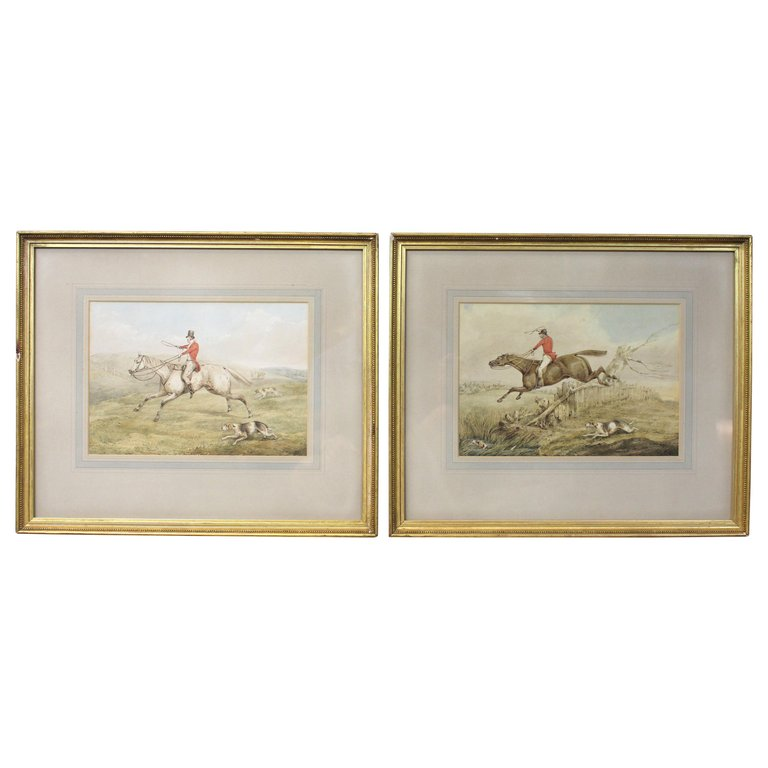 Pair of Original Watercolor Paintings by Henry Thomas Alken