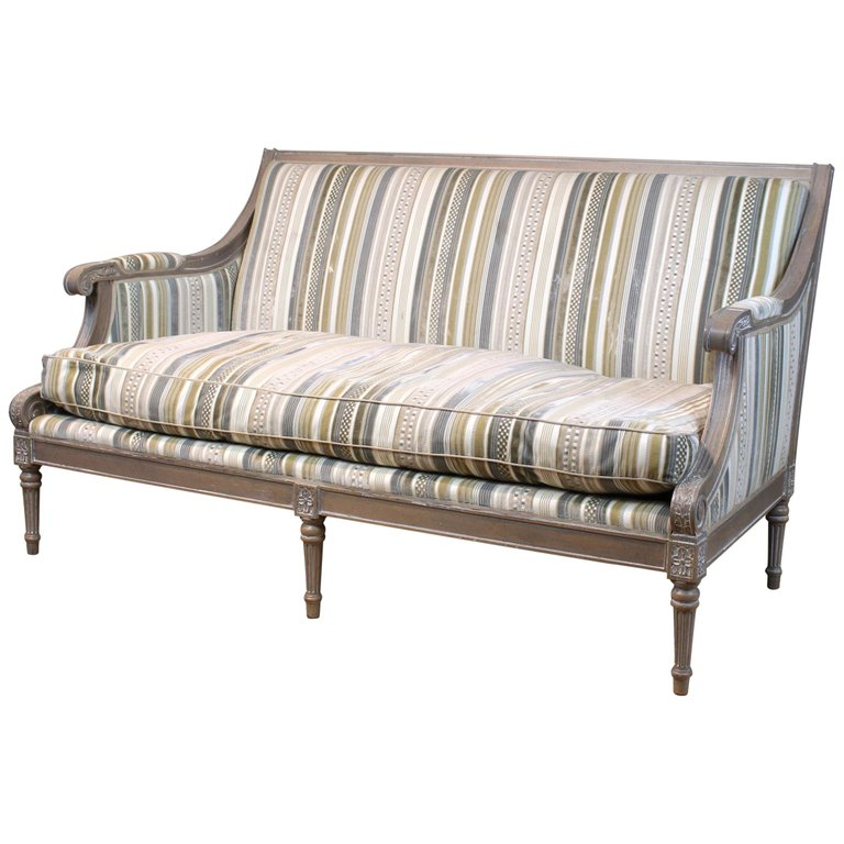 Louis XVI Style Upholstered Sofa or Bench