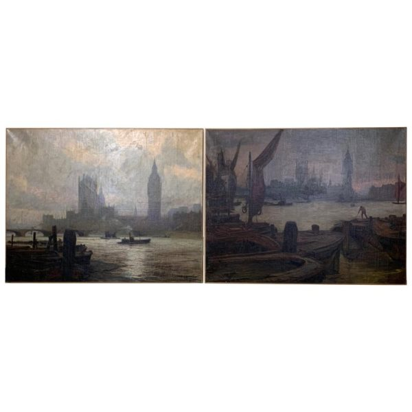 Pair of Large Oil on Canvas Paintings of London