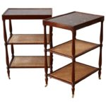 Pair of Marble-Topped Etagere Side Table
