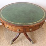 19th Century English Leather Topped Drum Table