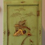 English Chinoiserie Decorated Hanging Corner Cupboard