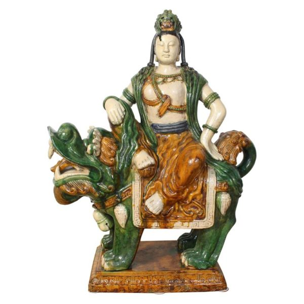 Monumental Mid-20th Century Glazed Ceramic Quan Yin Astride a Foo Dog