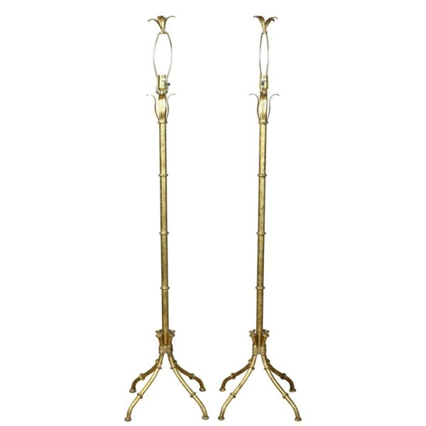 Pair of Gilt Metal Faux Bamboo Floor Lamps