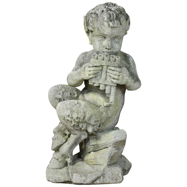 Large Cast Stone Garden Statue of Pan