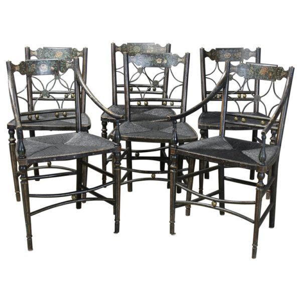 "Set of 6 Early 19th Century American ""Fancy"" Dining Chairs"