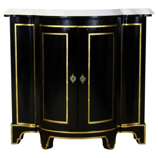 Black Lacquer Marble Top Credenza