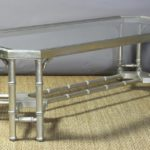 Midcentury Faux Bamboo Silver Leaf Cocktail Table