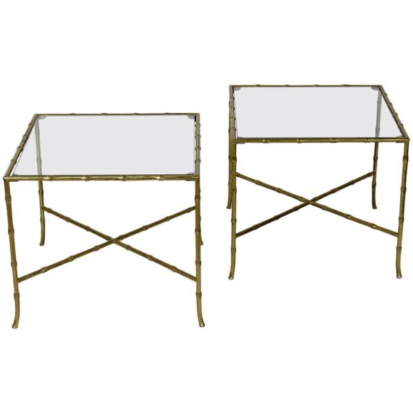 Pair of French Bronze and Glass Tables by Bagues