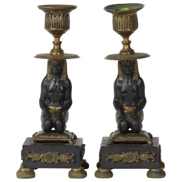 Pair of Early 19th Century Egyptian Revival Candlesticks