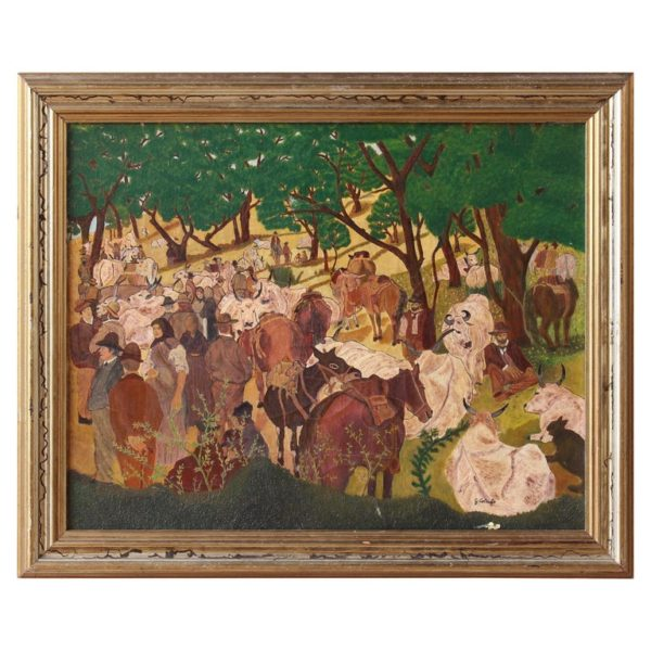Midcentury Italian School Painting of a Country Scene