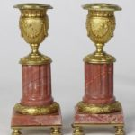 Pair of French Rose Marble Neoclassical Style Candlesticks