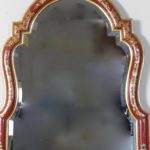 Large Red Chinoiserie Queen Anne Style Mirror