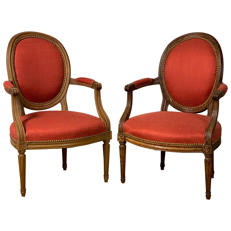 Pair of French Louis XVI Beechwood Fauteuils