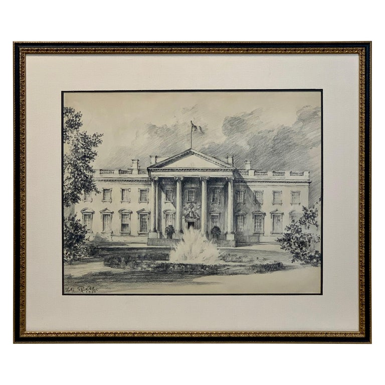 Charcoal on Paper Drawing of the White House
