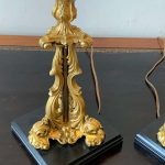 Pair of 19th Century French Gilt Bronze Candlestick Lamps