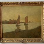 French Oil Painting of Sailboats on a River