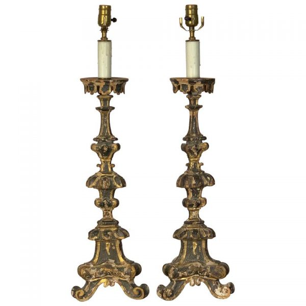 Pair of 18th Century Italian Pricket Candlestick Lamps