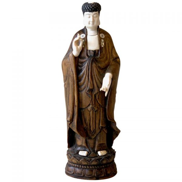 Carved Wood and Bone Standing Buddha