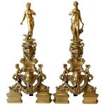 Monumental Pair of French Gilt Bronze Chenets