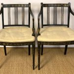 Set of Twelve English Regency Ebonized Dining Armchairs