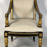 George IV Ebonized and Parcel-Gilt Armchair in the manner of Morel and Hughes