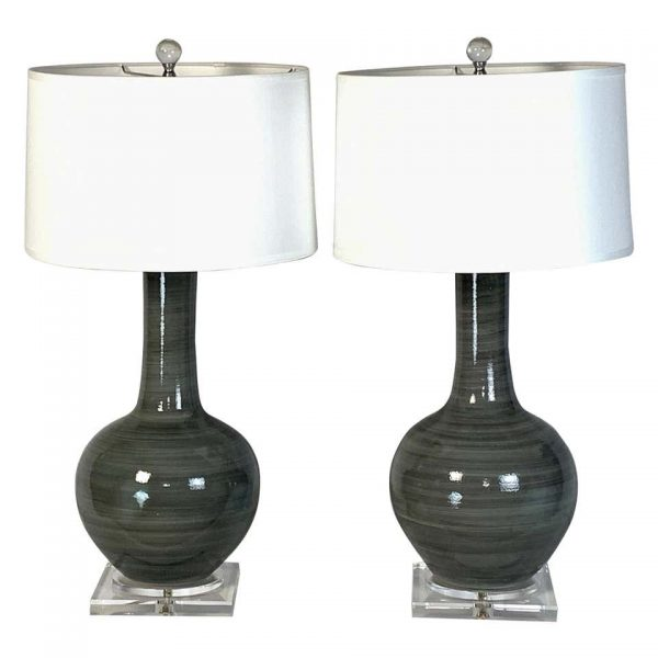 Pair of Large Contemporary Hand-Thrown Ceramic Lamps